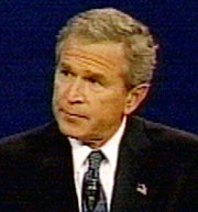 Bush glares at John Kerry during first presidential debate